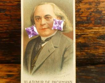 Vintage Costume Jewellery - Lilac Stone Studs on Wills Cigarette Card