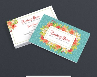 Business Card Designs  - Etsy Shop Business Cards - 2 Sided Printable Business Card Design - Floral Business Card Design - FAB