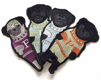 Pug Sew On Embroidery Patch - 17.5 cm x 8 cm
