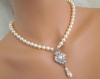 pearl necklace, backdrop necklace, bridal necklace, Rhinestone necklace, swarovski crystal, wedding necklace, Statement necklace, CLAUDE