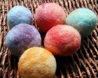 Wool Cat Balls, Hand felted, Needle Felted, Wool Balls, Cat toys multi colored
