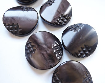 Chunky vintage brown buttons with cross hatch detail