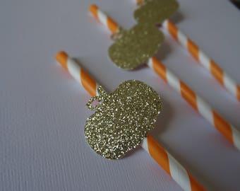 Little Pumpkin Straws, Gold, Orange and White