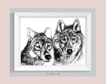 Wolves Print, wolf totem, wolf decor, spirit animal, animal art, wolf print, friendship wolves, wolf friends print, friendship art