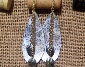 Leather Inspired Textured-Like White Silver and Gold Earrings with Dangling Leaves