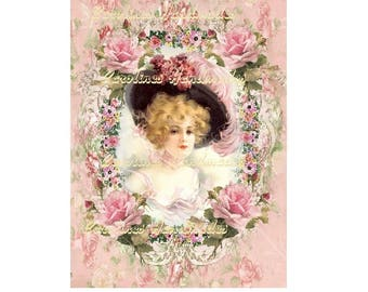 """Victorian Lady Collage Cotton Fabric Quilt Block (1) @ 5X7"""" on 8.5X11"""" Sheet"""