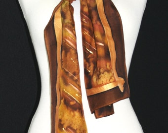 Brown Silk Scarf. Terracotta Hand Painted Silk Shawl. Handmade Silk Scarf CINNAMON TOUCH, size 8x54. Birthday, Bridesmaid Gift. Gift-Wrapped