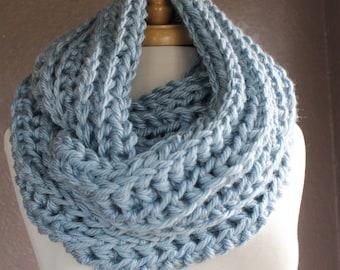 Crochet Infinity Scarf, Crochet Wrap, Infinity Scarf, Wrap Scarf, Crochet Cowl, Cowl Scarf, Blue
