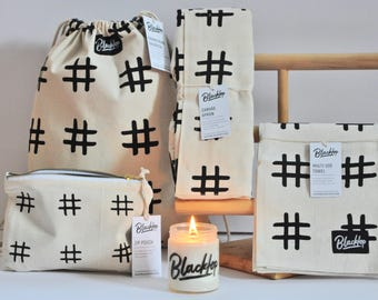 Gift Set: Hashtag Black and White, Candle Set, Soy Candle, Vegan Candle, All Natural Gift,  Apron, Tea Towel, Zip Pouch, Drawstring Backpack