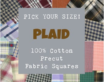 Plaid Precut Fabric Squares, 100% Cotton Fabric, Pick Your Size, 10 Quilt Squares