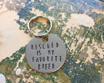 The Brandon Dog Tag - Rescued Is My Favorite Breed - Vanity Dog Tag