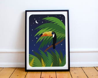 Toucan Print - Toucan in the Jungle Poster - Toucan Illustration