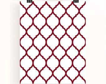 Moroccan geometric print - maroon pattern wall art - red home wall art - home decor - home office wall art - geometric poster - uk seller