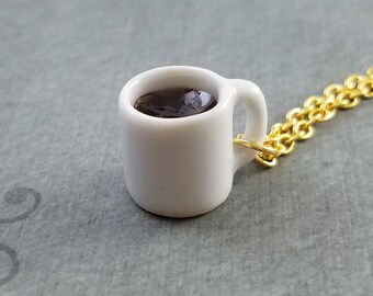 Coffee Necklace SMALL Cup of Coffee Cup Charm Necklace Black Coffee Mug Pendant Necklace Coffee Lover Gift for Mom Coffee Jewelry Bridesmaid