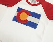 Baby Colorado Flag Baseball Tee - Red Baby Baseball Tee