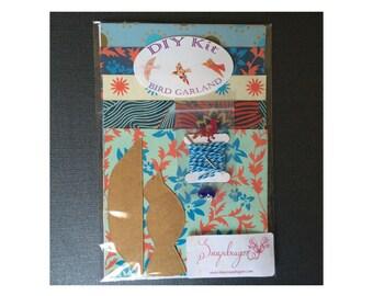 DIY Kit - Paper Bird Garland - 3-D Bird Garland - Make Your Own Garland - Do It Yourself Kit - Decorative Birds - Shower Gift - Blues, Reds