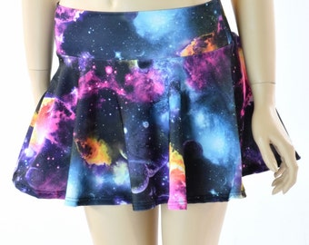 10, 12 or 15 Inch Neon UV Glow Galaxy Print Circle Cut Mini Skirt Rave Clubwear EDM  -152302