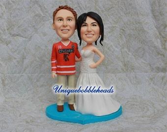 Custom wedding cake toppers jerseys customized clay figurines lifelike to look like you keepsake