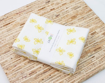 Large Cloth Napkins - Set of 4 - (N4102) - Yellow Butterflies Modern Reusable Fabric Napkins