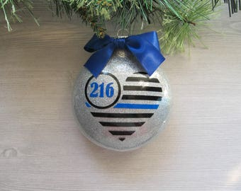 Thin Blue Line Ornament - Police Ornament - Law Enforcement Ornament - Police Officer Gift - Police Wife Gift - Police Support Gift