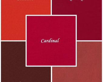 Red, 5 pc Kona Cotton Bundle, Robert Kaufman Fabrics, Choose Your Bundle Size