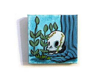 In the Woods Painting Miniature - Original Tiny Wall Art Acrylic on Canvas 2 x 2 Inches by Karen Watkins - Skull in Woodland Tiny Art