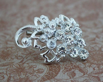 Silver Grape Cluster Brooch with Rhinestones - Vintage Costume Jewelry Pin