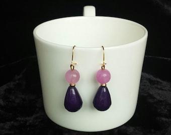 Silver Plated earrings earrings for agate Earrings Purple