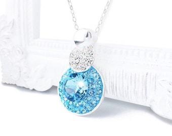 Aquamarine Blue Swarovski Crystal Necklace, Something Blue, Light Blue Aquamarine Silver Crystal Necklace, March Birthstone Pendant Necklace