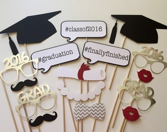 2018 Now Available Graduation Photo Booth Props . Class of 2016 . Glitter and Metallic . Silver . Set of 16