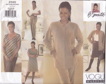 FREE US SHIP Vogue 2595 Designer B. Smith  Sewing Pattern Uncut Size 12 14 16 Bust 34 36 38 Suit Jacket Skirt Blouse Dress Factory Folded