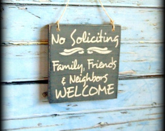 Welcome Sign, Housewarming Gift, No Soliciting Sign, No Solicitation, Family and Friends, Welcome Family,Wooden Door Hanger,Custom Wood Sign