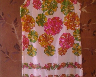 60s psychedelic flower and butterfly mini shift dress