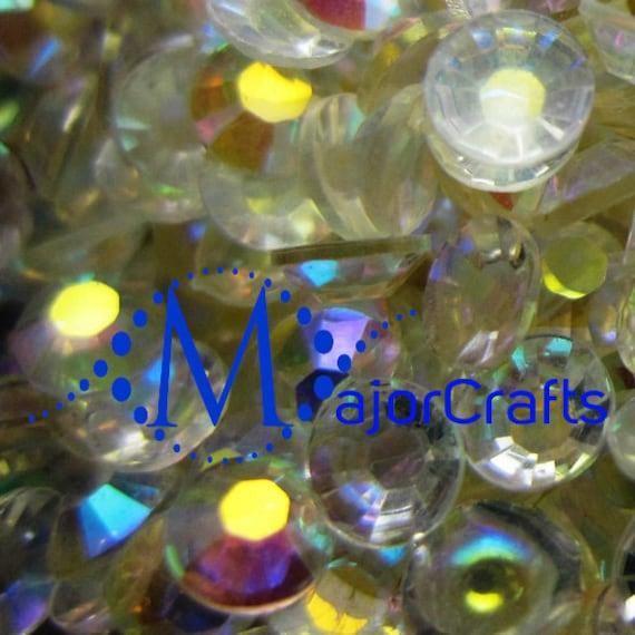 Transparent Clear AB Flat Back Round Resin Rhinestones Embellishment Gems C44
