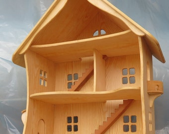 Handmade wooden dollhouse  organic / Natural Wooden Dollhouse Waldorf , Montessori , Handcrafted Toy , Toys