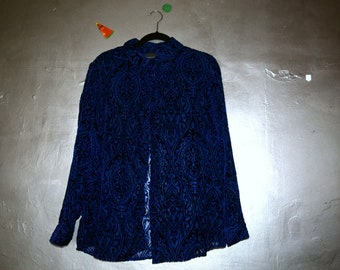 Vintage Royal Blue Velvet Victorian Lace Button Up
