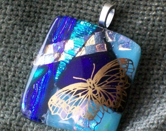 fused dichroic glass layered with 23 kt gold butterfly
