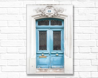 Paris Photography on Canvas - Blue Door 187, Gallery Wrapped Canvas, Architectural Urban Home Decor, Large Wall Art