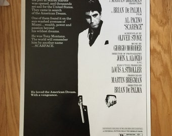 Wall Art, Movie Poster, Scarface Al Pacino, One Sheet Movie Poster 27x 40