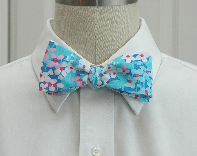 Men's Bow Tie, Dot Dot Hop blues and pinks  Lilly print, wedding party bow tie, groom bow tie, groomsmen gift, prom bow tie, floral bow tie