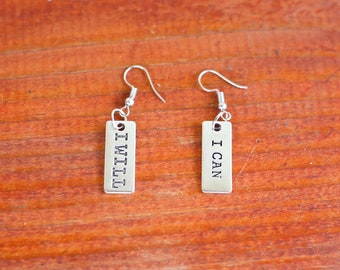 I Will & I Can Dangling Inspriational Earrings