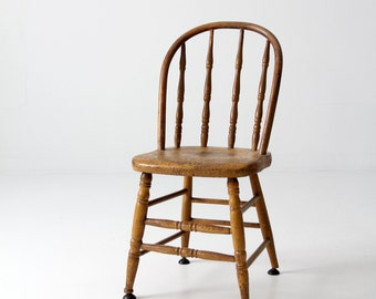 vintage wood spindle back chair, painted kitchen chair