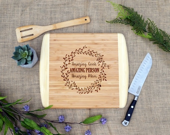 Amazing Cook Amazing Person Amazing Mom Cutting Board, Cheese Board, Gift For Mom, Present, Mom Gift, Mother's Day, Mom Birthday, Kitchen