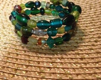 Green Multi-Beaded Memory Wire Bracelet