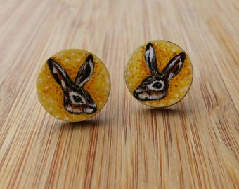 Hare Earrings, Rabbit Earrings, Bunny Earrings, Easter Gift, Animal Earrings, Funny Earrings, Hare Jewelry, Hand Painted Wooden Earrings