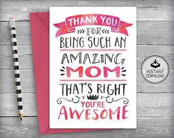 Mothers Day Card | MOM Birthday Cards | Card For Mom | Mothers Day Card | Mother Birthday Card | Printable Instant Download - Awesome Mom