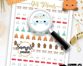 Camping Planner Stickers, Camping Stickers, Camp Stickers For Planner, Planner Printables, Printable Stickers, Planner Decorating Stickers