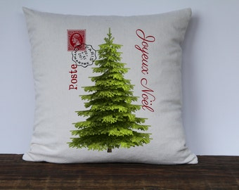 Christmas Pillow Cover, Christmas Tree, French Farmhouse Christmas Pillow, Joyeux Noel, Decorative couch Pillow, Custom Sofa Pillow
