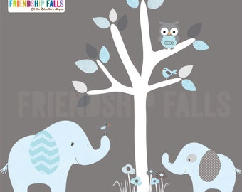 nursery Jungle Decal, elephant Wall Decal, giraffe decal, Nursery Wall Decal, Friendship Falls XXL Branch Tree Set - Feel'in Blue Scene