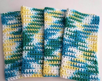Crochet Wash Cloths Crochet Dish Cloths 100% Cotton Handmade Washrag Set of 4 Kitchen Dishcloths Face Cloth Potholder